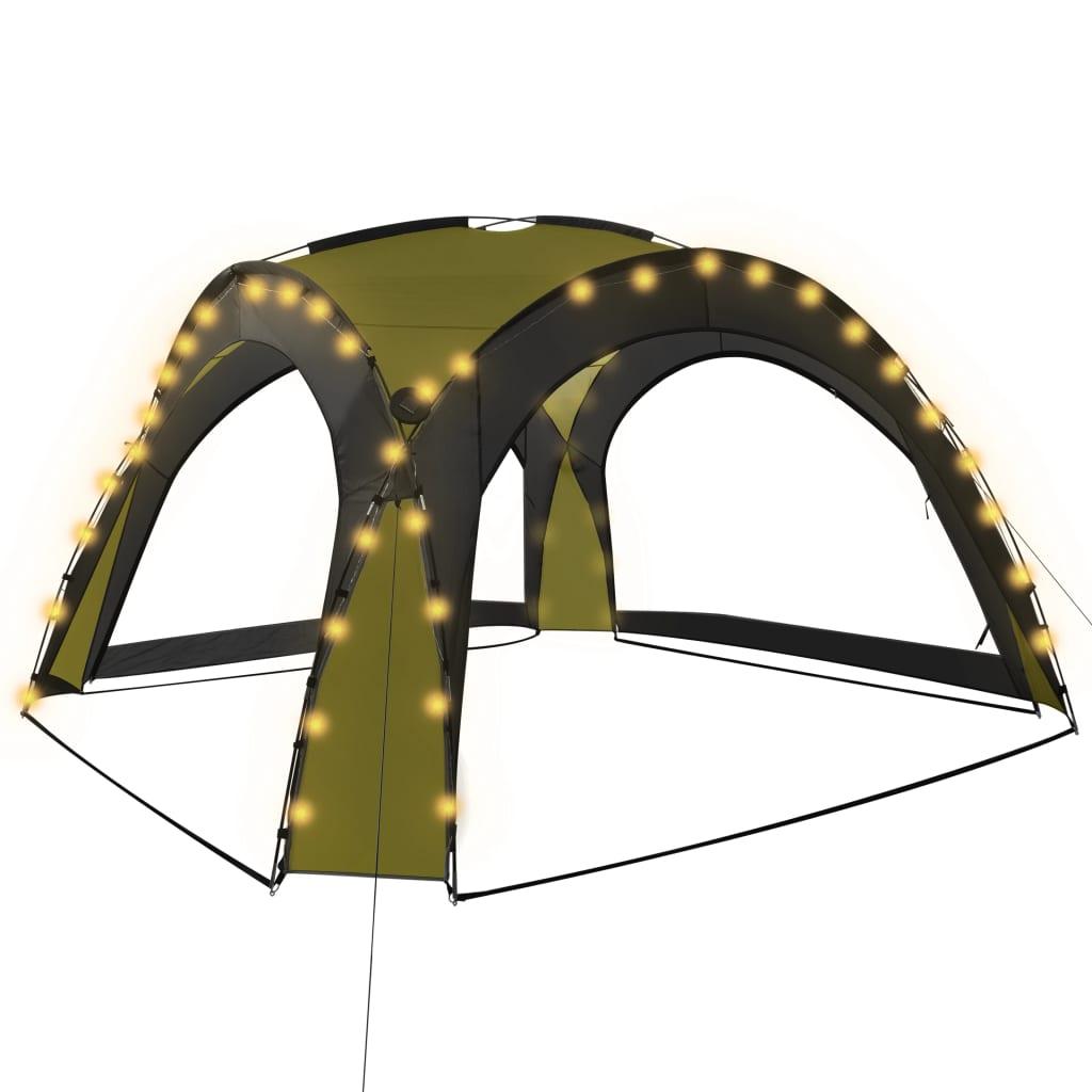 vidaXL Τέντα Εκδηλώσεων με LED και 4 Τοιχώματα Πράσινη 3,6×3,6×2,3 μ.