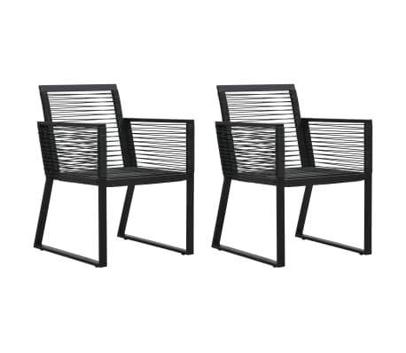 vidaXL Garden Chairs 2 pcs Black PVC Rattan
