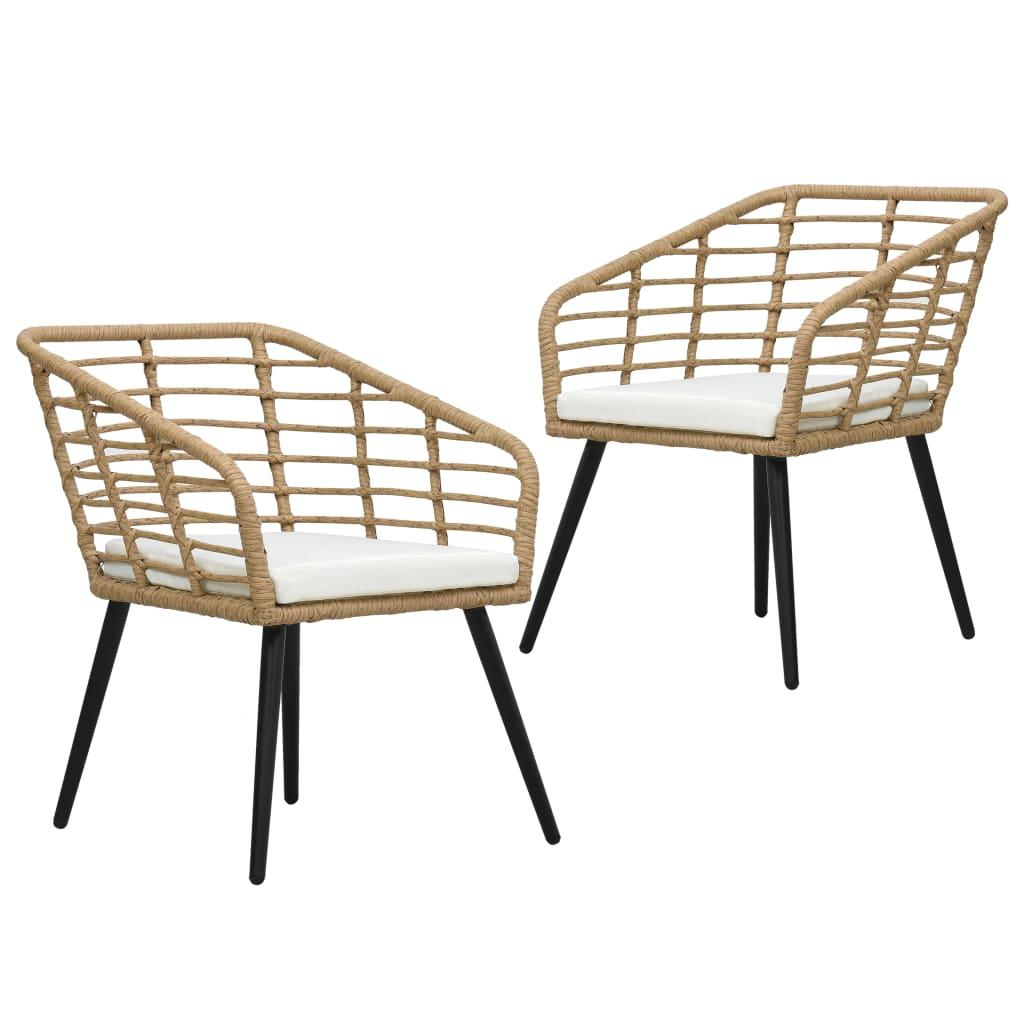 vidaXL Καρέκλες Εξ. Χώρου 2 τεμ. Χρώμα Δρυός Συνθ. Ρατάν με Μαξιλάρια