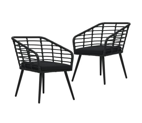 vidaXL Gartenstühle 2 Stk. mit Auflagen Poly Rattan Schwarz