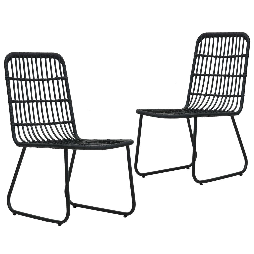 vidaXL Καρέκλες Κήπου 2 τεμ. Μαύρες από Συνθετικό Ρατάν