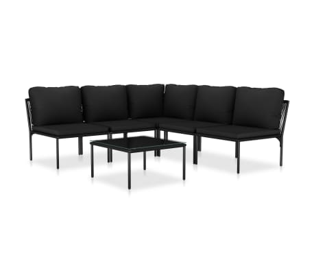 vidaXL 6 Piece Garden Lounge Set with Cushions Black PVC