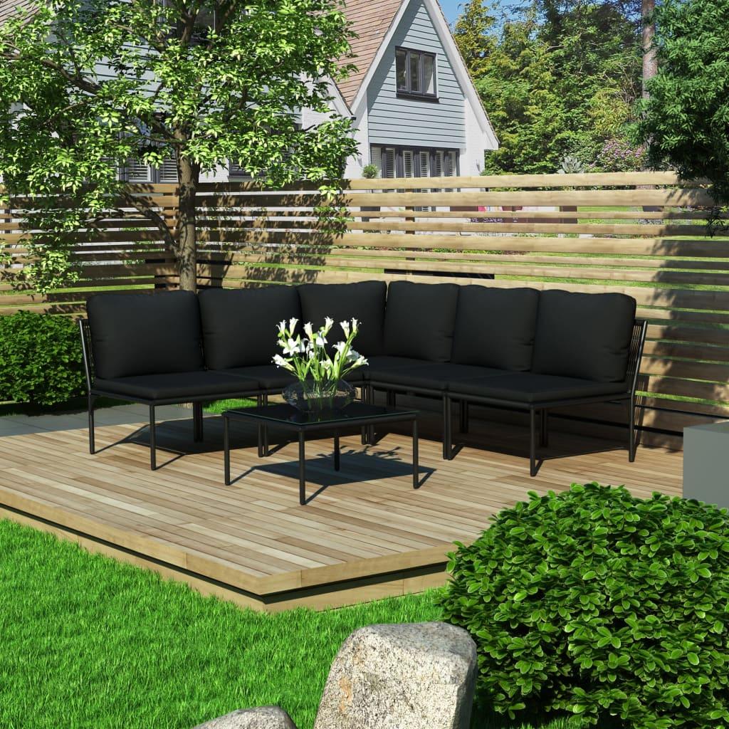 vidaXL Set mobilier de grădină cu perne, 6 piese, negru, PVC vidaxl.ro