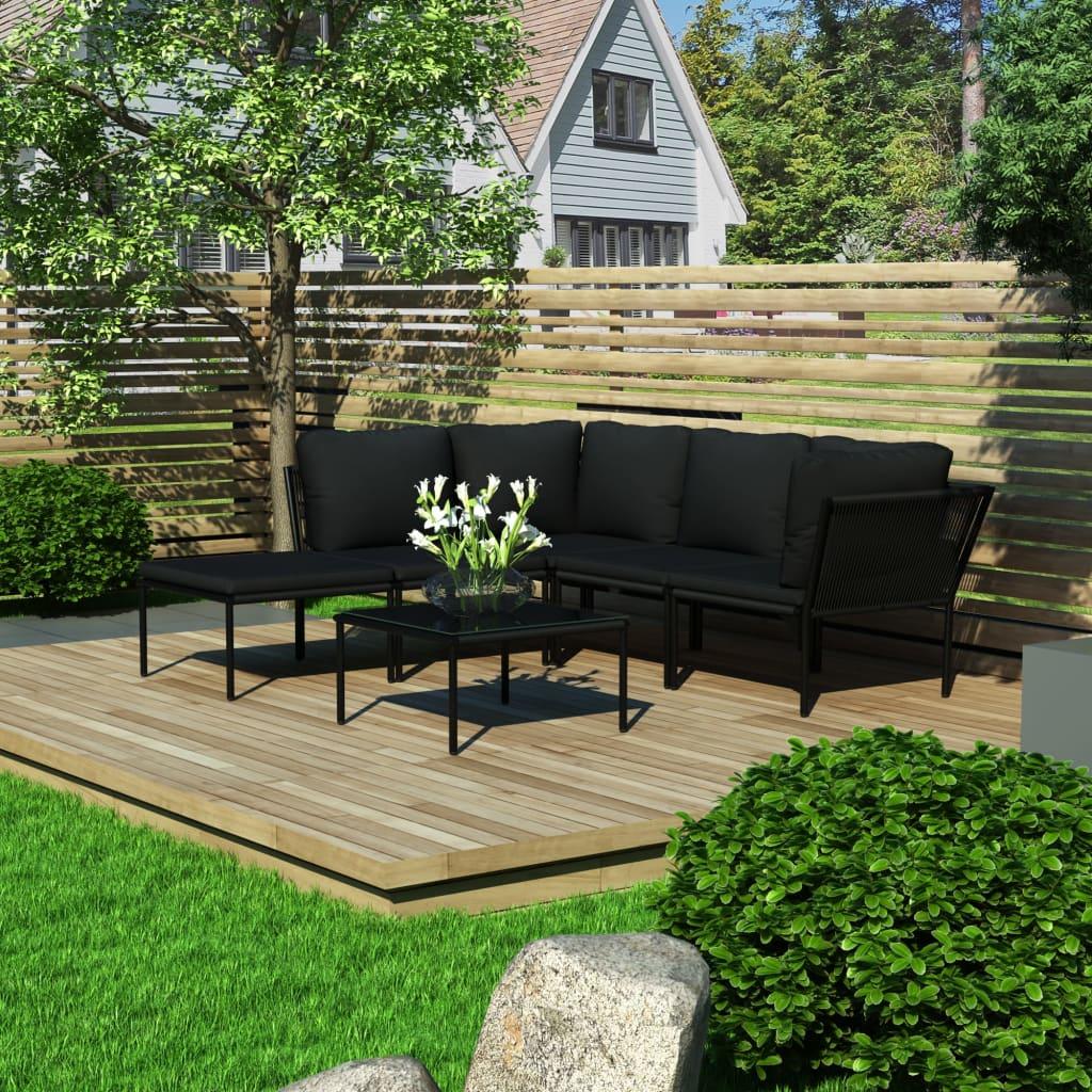 vidaXL Set mobilier de grădină cu perne, 6 piese, negru, PVC imagine vidaxl.ro