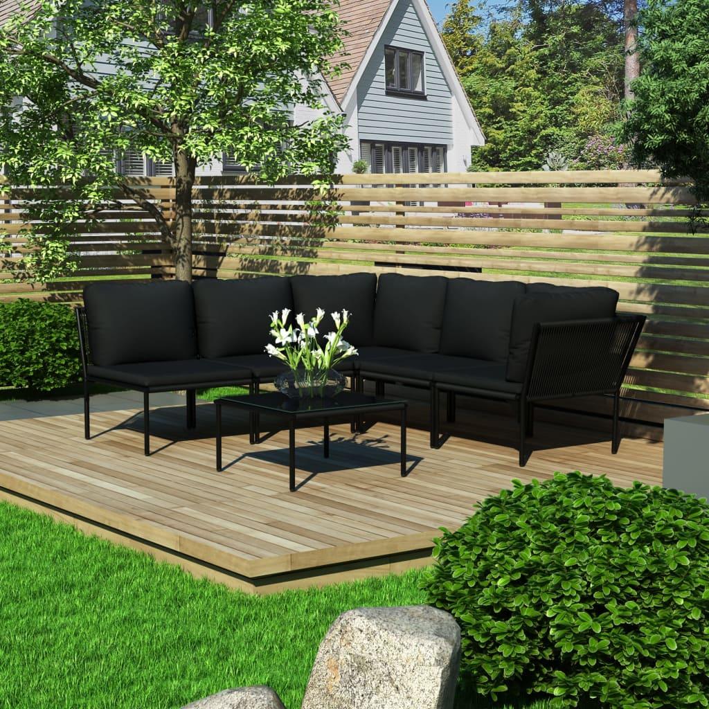 99948591 6-tlg. Garten-Lounge-Set mit Auflagen Schwarz PVC