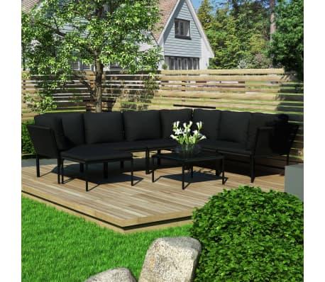 vidaXL Juego de Muebles de Jardín 8 Piezas con Cojines PVC