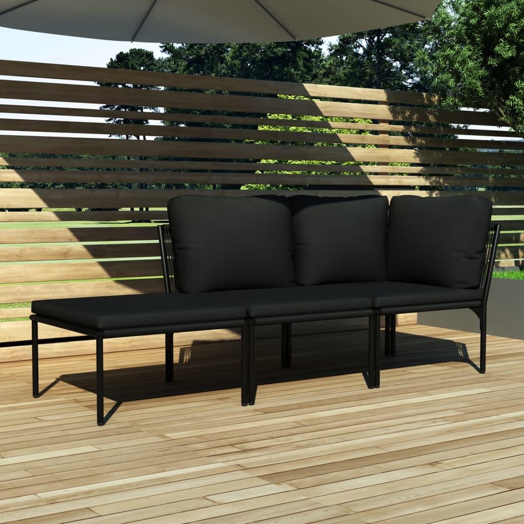 vidaXL 3dílná zahradní sedací souprava s poduškami černá PVC