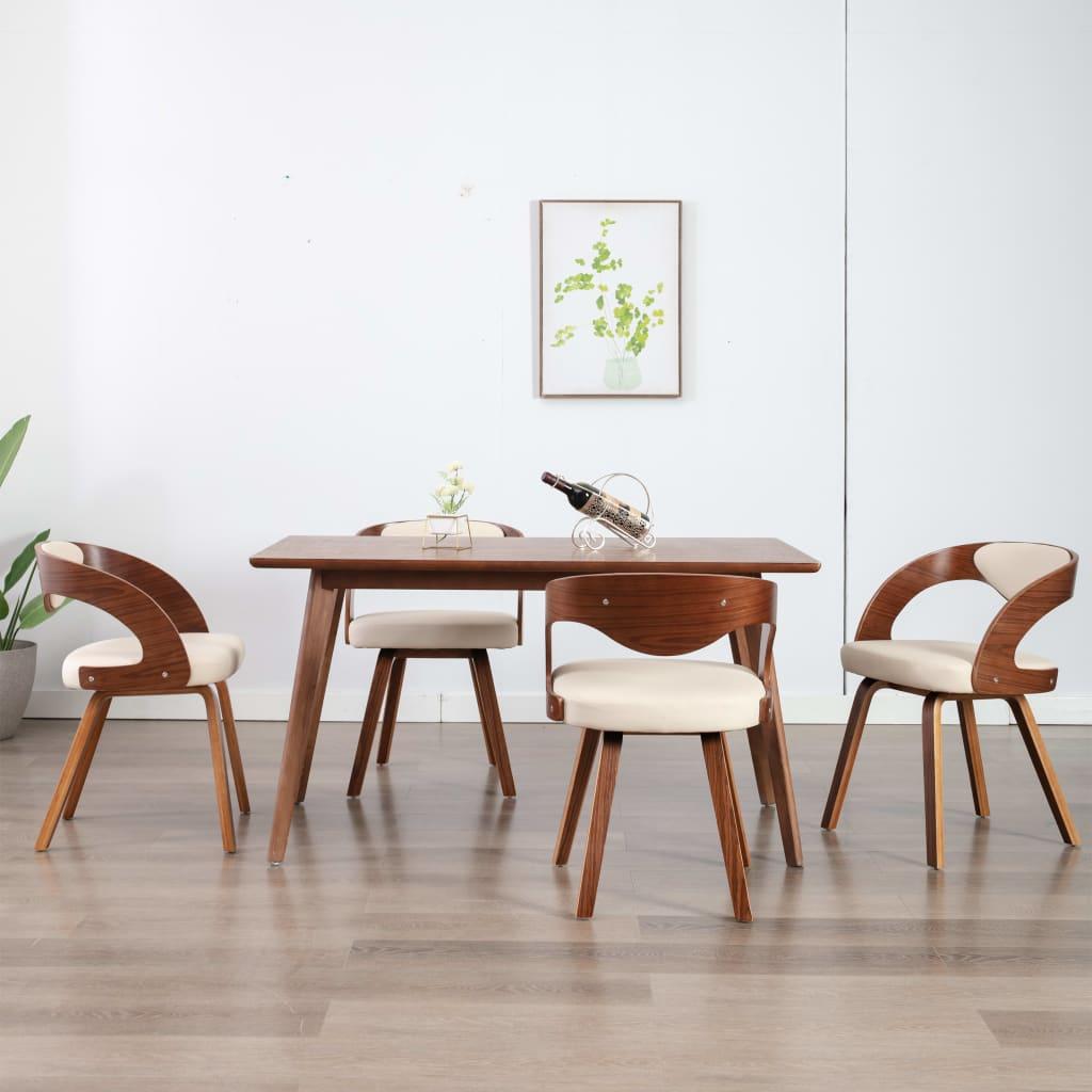 vidaXL Scaune de bucătărie, 4 buc, crem, lemn curbat & piele ecologică imagine vidaxl.ro