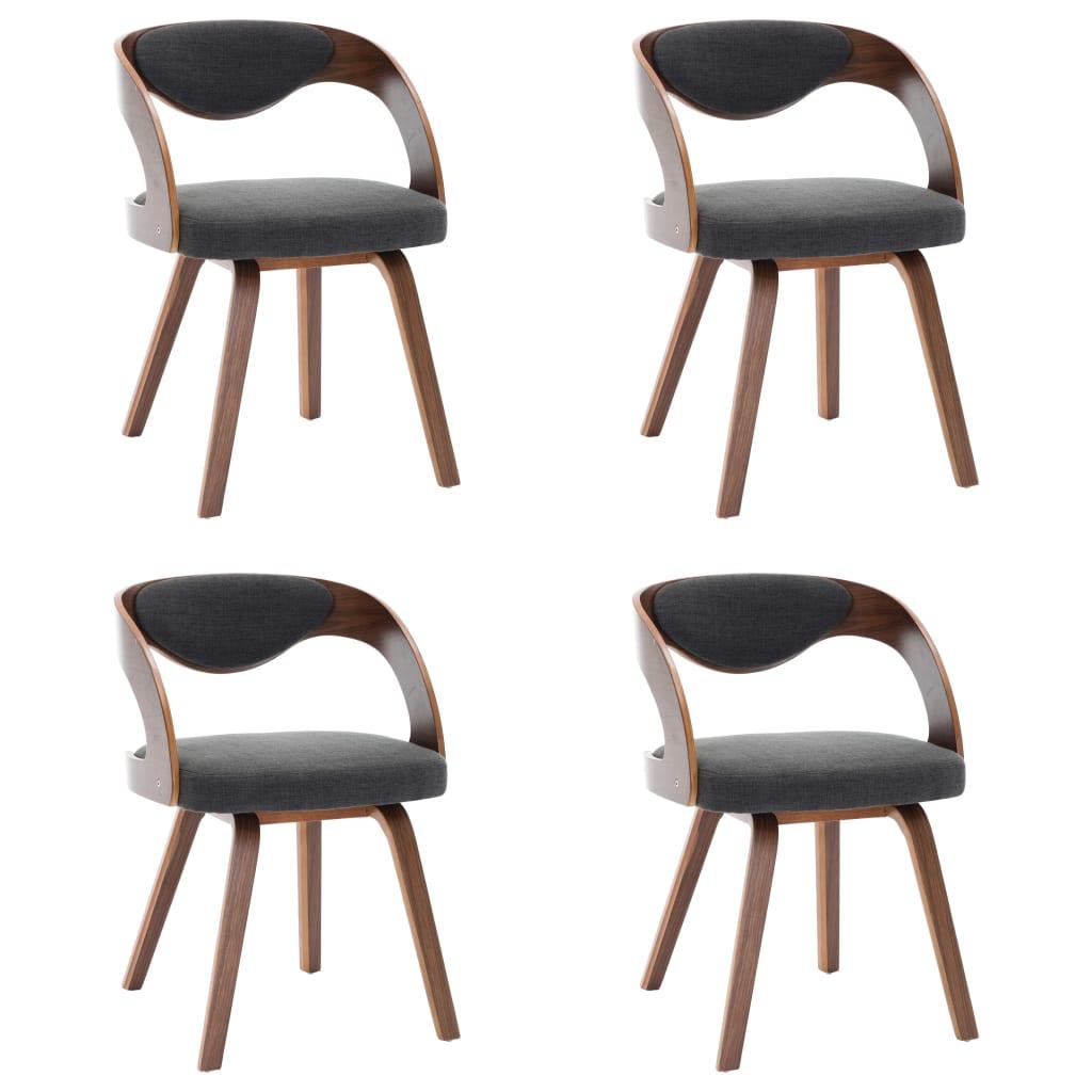 vidaXL Καρέκλες Τραπεζαρίας 4 τεμ. Σκούρο Γκρι Λυγισμένο Ξύλο & Ύφασμα