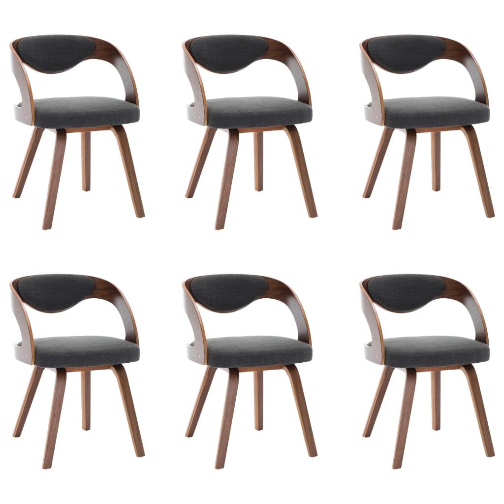 vidaXL Καρέκλες Τραπεζαρίας 6 τεμ. Σκούρο Γκρι Λυγισμένο Ξύλο & Ύφασμα