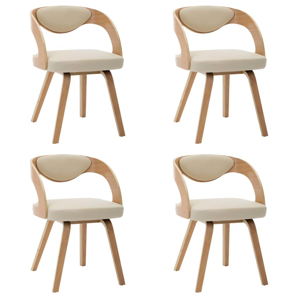 vidaXL Καρέκλες Τραπεζαρίας 4 τεμ. Κρεμ Λυγισμένο Ξύλο/Συνθετικό Δέρμα