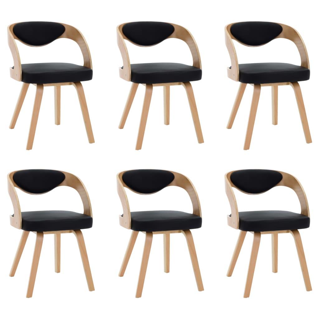 vidaXL Καρέκλες Τραπεζαρίας 6 τεμ. Μαύρες Λυγισμ. Ξύλο/Συνθετικό Δέρμα