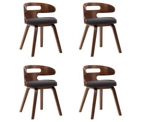 vidaXL Dining Chairs 4 pcs Dark Grey Bent Wood and Fabric
