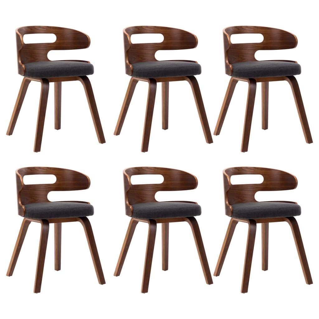 vidaXL Καρέκλες Τραπεζαρίας 6 τεμ. Σκούρο Γκρι Λυγισμένο Ξύλο / Ύφασμα