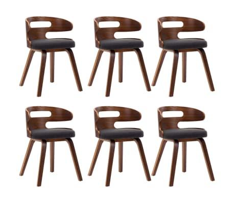 vidaXL Dining Chairs 6 pcs Dark Grey Bent Wood and Fabric