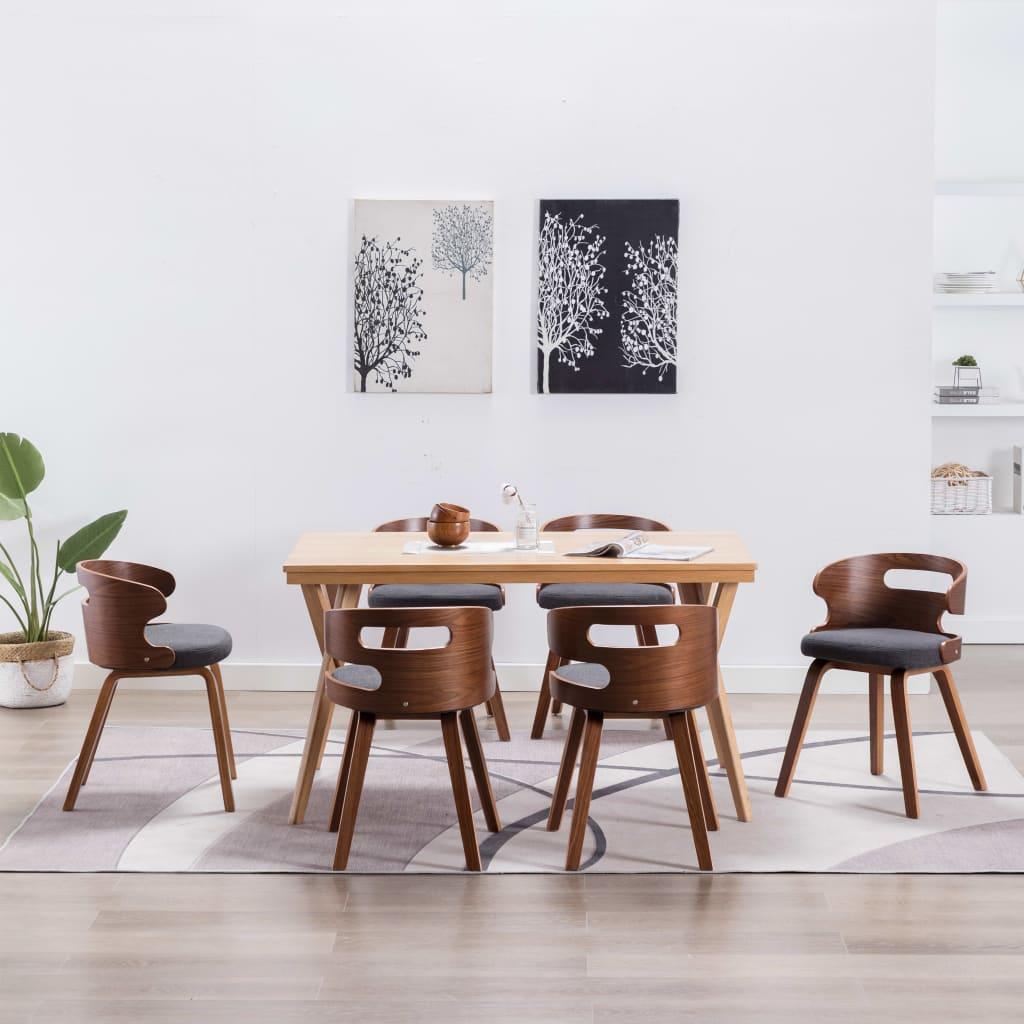 <ul><li>Farbe: Dunkelgrau und -braun</li><li>Material: Stoff und Bugholzrahmen</li><li>Abmessungen: 48 x 49 x 68 cm (B x T x H)</li><li>Sitzbreite: 48 cm</li><li>Sitztiefe: 41 cm</li><li>Sitzhöhe vom Boden: 49 cm</li><li>Rückenlehnen-Höhe: 23,5 cm</li><li>Lieferung umfasst 6 Esszimmerstühle</li><li>Material: Polyester: 100%</li></ul>