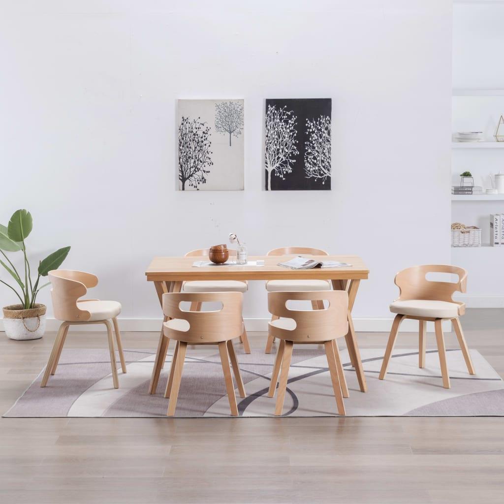 vidaXL Blagovaonske stolice od savijenog drva i umjetne kože 6 kom krem