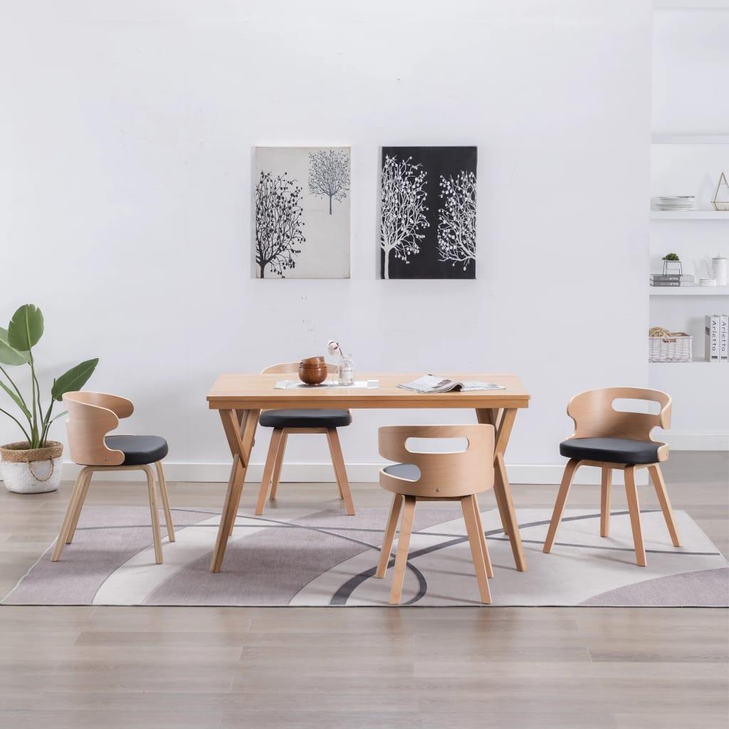 vidaXL Scaune de bucătărie 4 buc, negru, lemn curbat & piele ecologică poza 2021 vidaXL