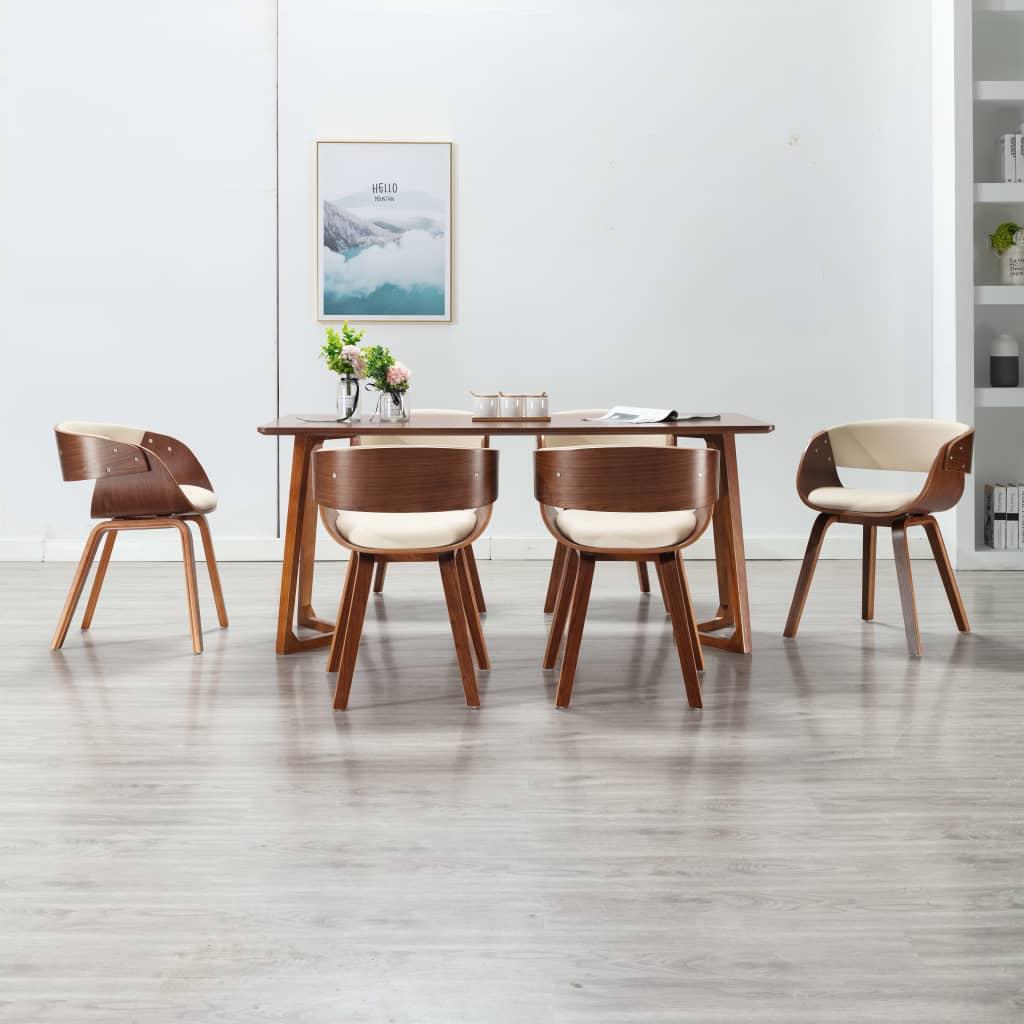 vidaXL spisebordsstole 6 stk. bøjet træ og kunstlæder cremefarvet