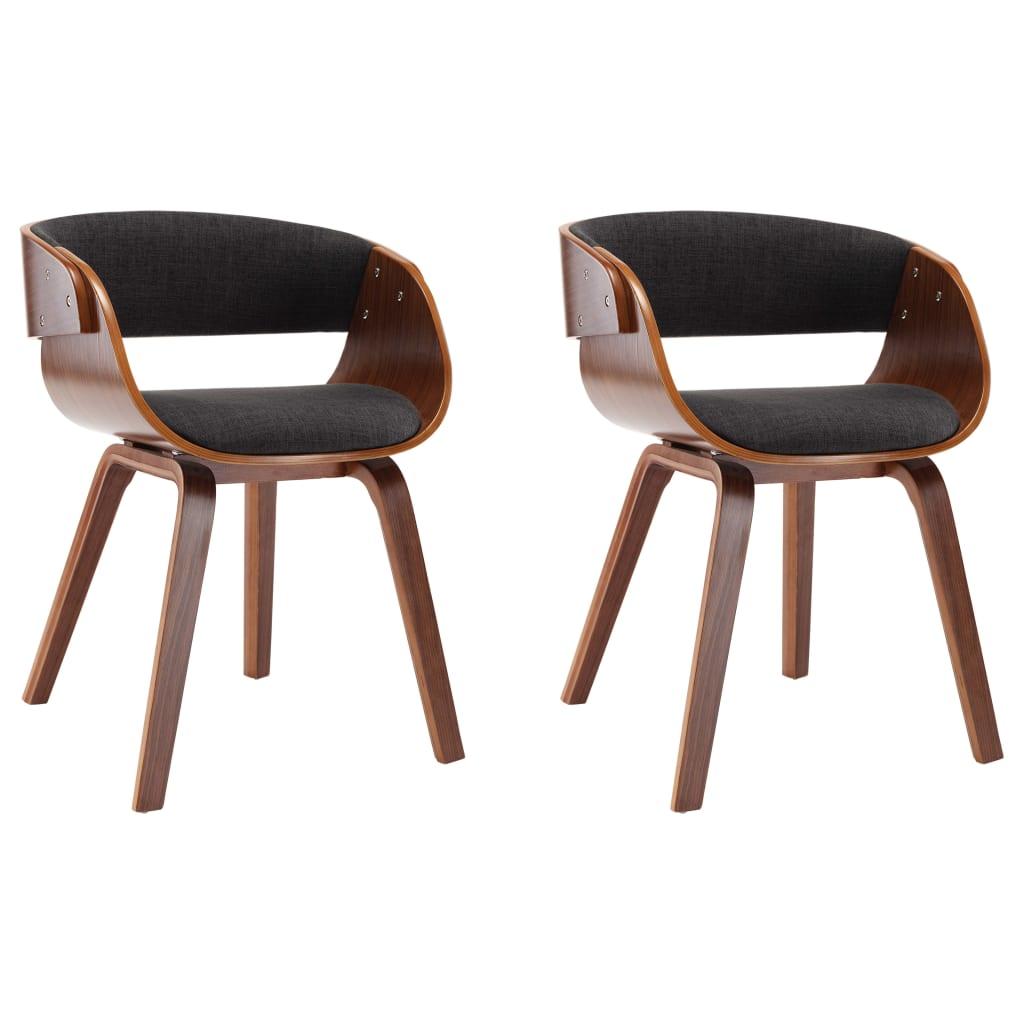 vidaXL Καρέκλες Τραπεζαρίας 2 τεμ. Γκρι από Λυγισμένο Ξύλο και Ύφασμα