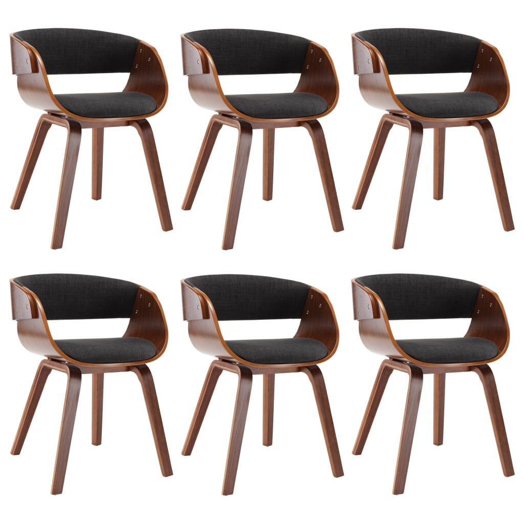 vidaXL Καρέκλες Τραπεζαρίας 6 τεμ. Γκρι από Λυγισμένο Ξύλο και Ύφασμα