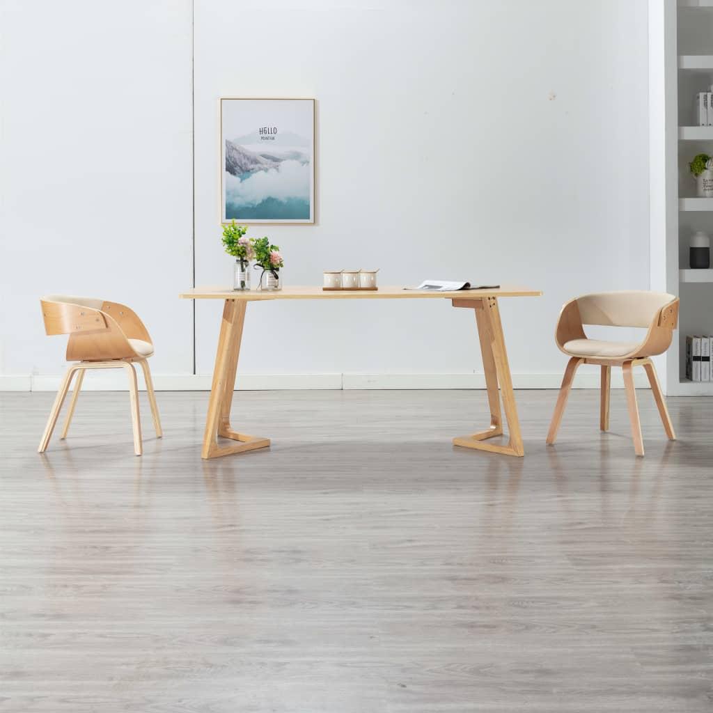 vidaXL Scaune de bucătărie, 2 buc, crem, lemn curbat & piele ecologică poza vidaxl.ro