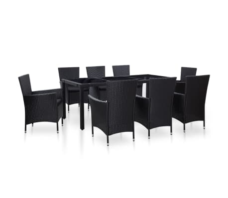 vidaXL 9 Piece Outdoor Dining Set Poly Rattan Black