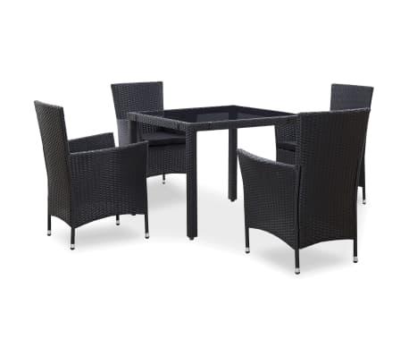 vidaXL 5 Piece Outdoor Dining Set Poly Rattan Black