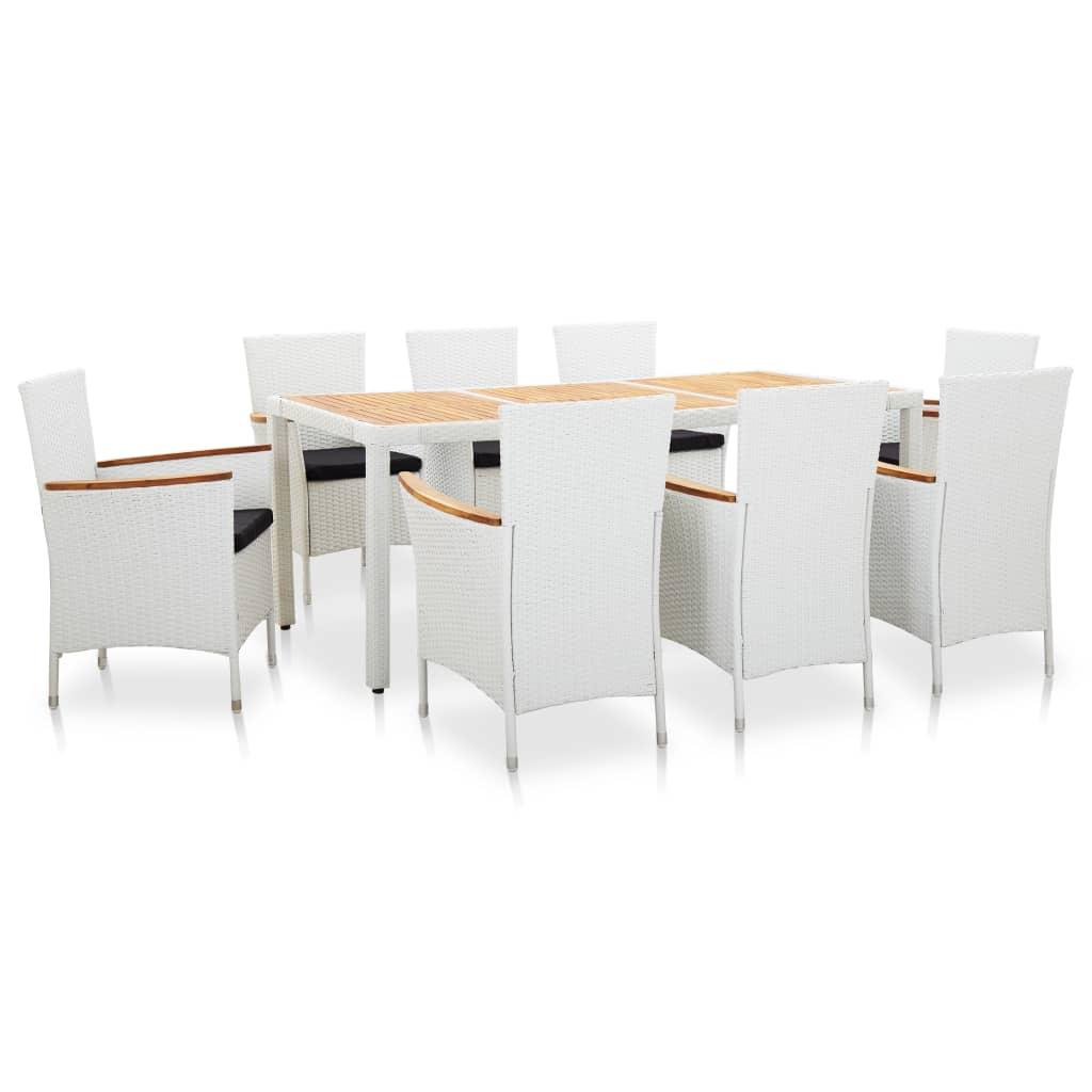vidaXL Set mobilier de grădină, 9 piese, alb, poliratan imagine vidaxl.ro