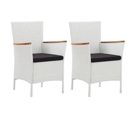 vidaXL Garden Chairs 2 pcs White Poly Rattan