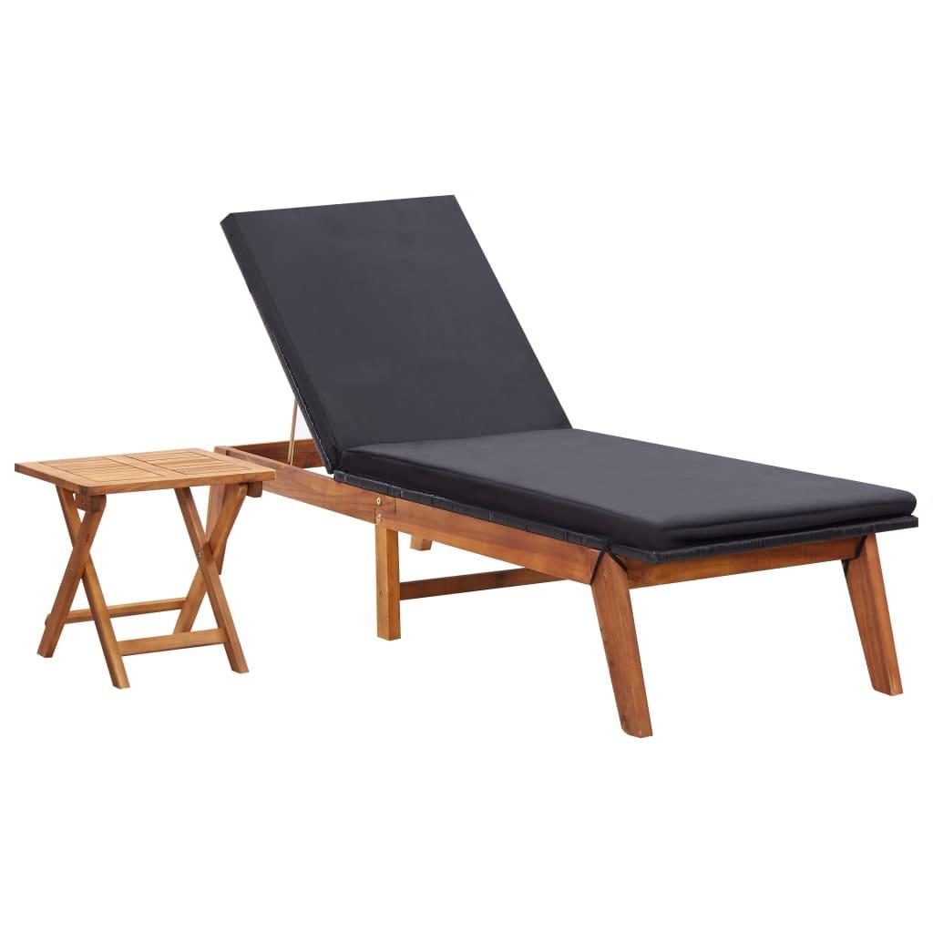 vidaXL Șezlong de plajă cu masă, poliratan și lemn masiv de acacia imagine vidaxl.ro