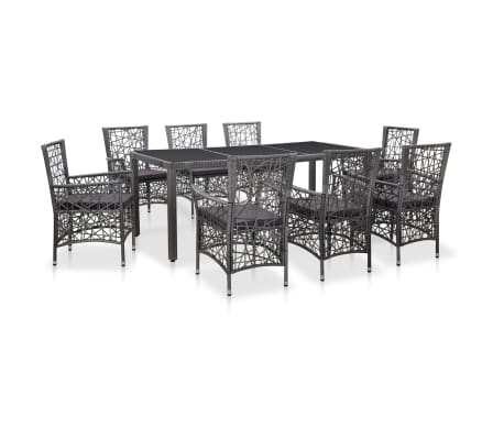 vidaXL 9 Piece Outdoor Dining Set Poly Rattan Gray