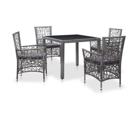vidaXL udendørs spisebordssæt 5 dele polyrattan grå
