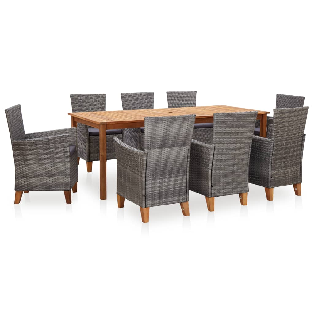 vidaXL Set mobilier de grădină, 9 piese, gri, poliratan & lemn acacia vidaxl.ro