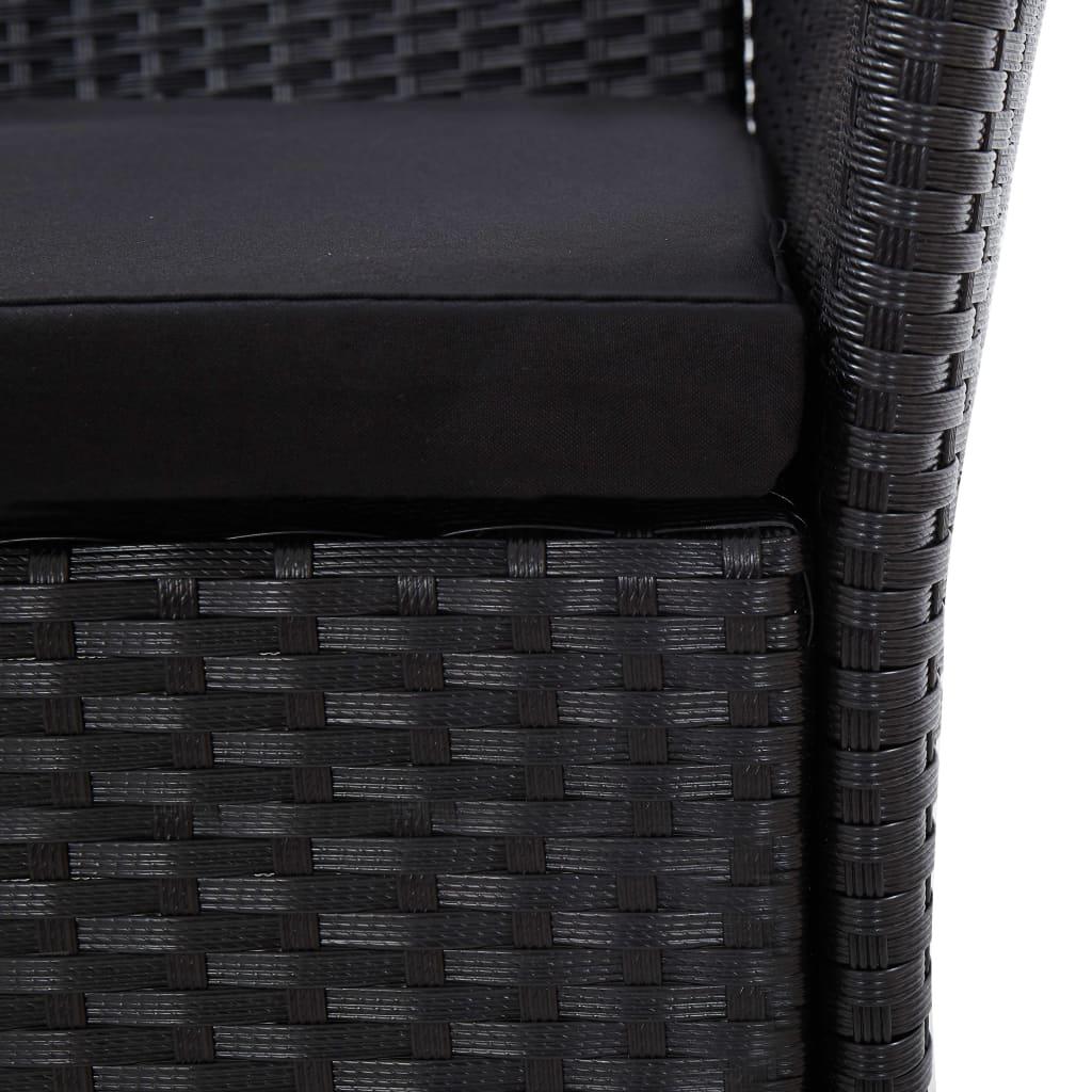 vidaXL 9-delige Tuinset met kussens poly rattan zwart