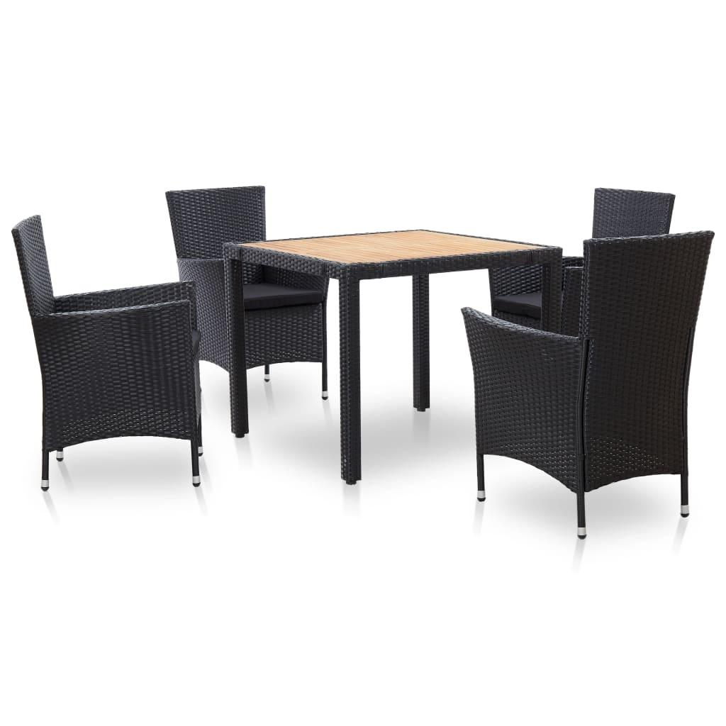 vidaXL Set mobilier de exterior cu perne, 5 piese, negru, poliratan poza 2021 vidaXL