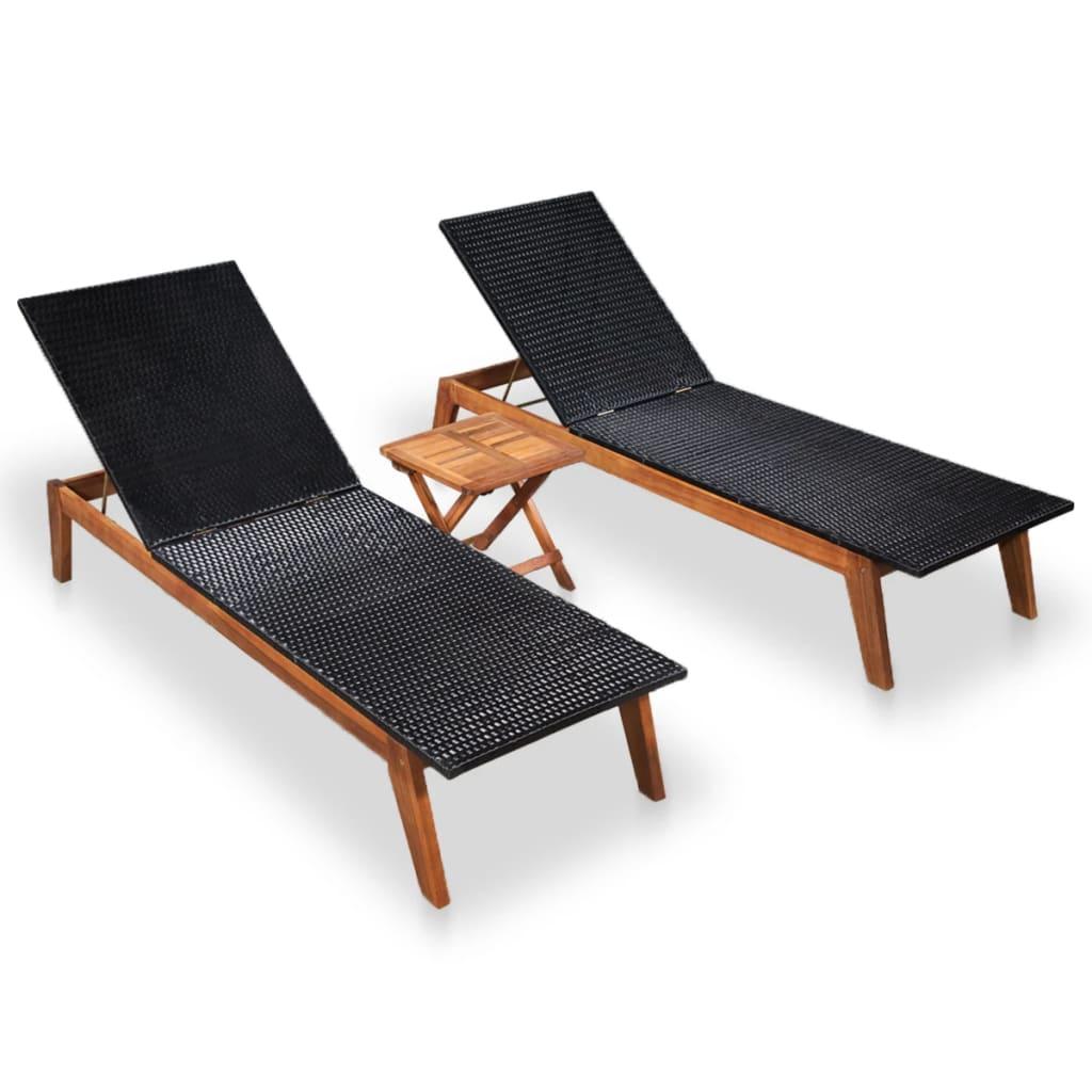 vidaXL Șezlonguri cu masă, 2 buc., poliratan & lemn masiv de acacia imagine vidaxl.ro