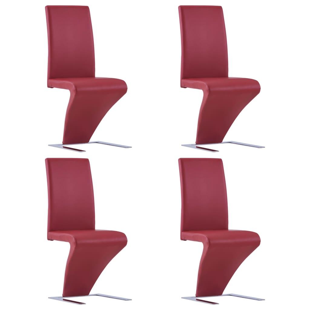 vidaXL Καρέκλες Τραπεζαρίας Ζιγκ-Ζαγκ 4 τεμ. Κόκκινες Συνθετικό Δέρμα