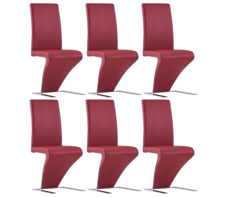 vidaXL Eetkamerstoelen met zigzag-vorm 6 st kunstleer rood