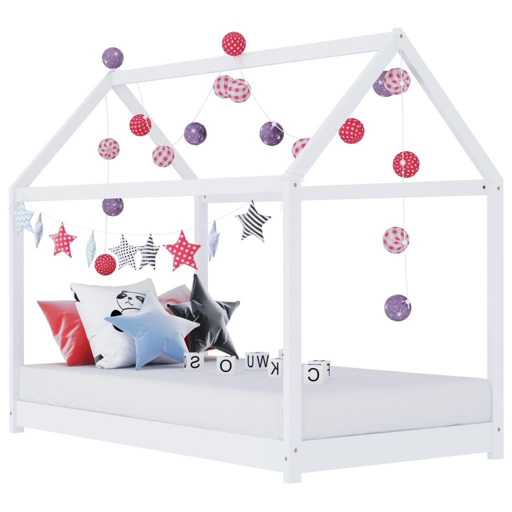 Lastevoodi raam valge, männipuit, 70 x 140 cm