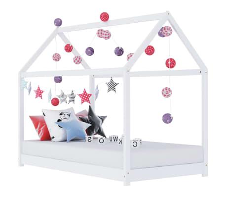 vidaXL Detský posteľný rám biely 70x140 cm borovicový masív