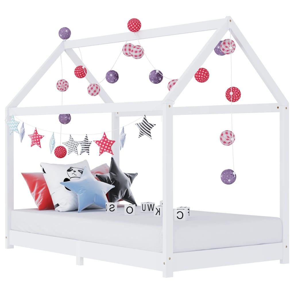 Lastevoodi raam valge, männipuit, 90 x 200 cm