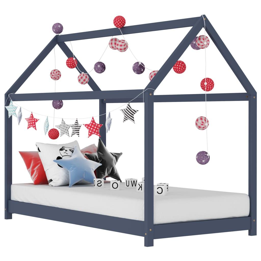 vidaXL Cadru pat de copii, gri, 70 x 140 cm, lemn masiv de pin vidaxl.ro