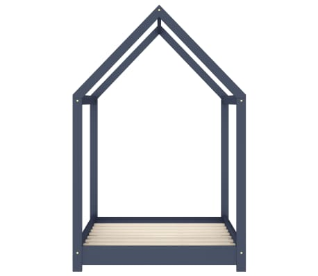 vidaXL Vaikiškos lovos rėmas, pilkas, 70x140cm, pušies masyvas[4/7]