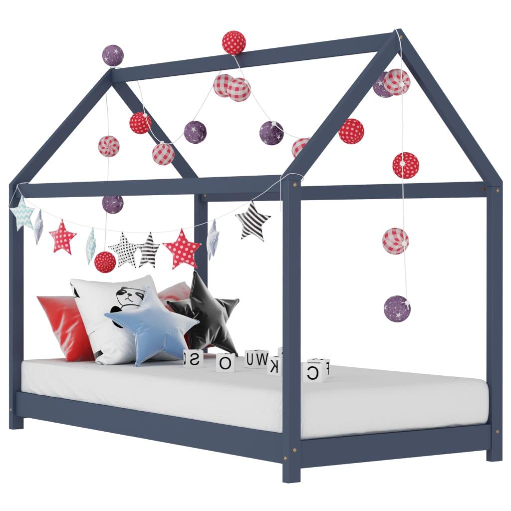 vidaXL Cadru de pat pentru copii, gri, 80 x 160 cm, lemn masiv de pin vidaxl.ro