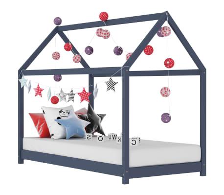 vidaXL Estrutura de cama para crianças 80x160 cm pinho maciço cinza