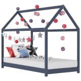vidaXL lastevoodi raam, hall, männipuit, 80 x 160 cm