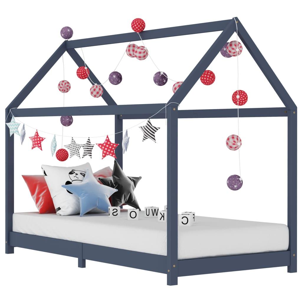vidaXL Cadru de pat pentru copii, gri, 90 x 200 cm, lemn masiv de pin vidaxl.ro