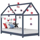 vidaXL bērnu gultas rāmis, pelēks, priedes masīvkoks, 90x200 cm