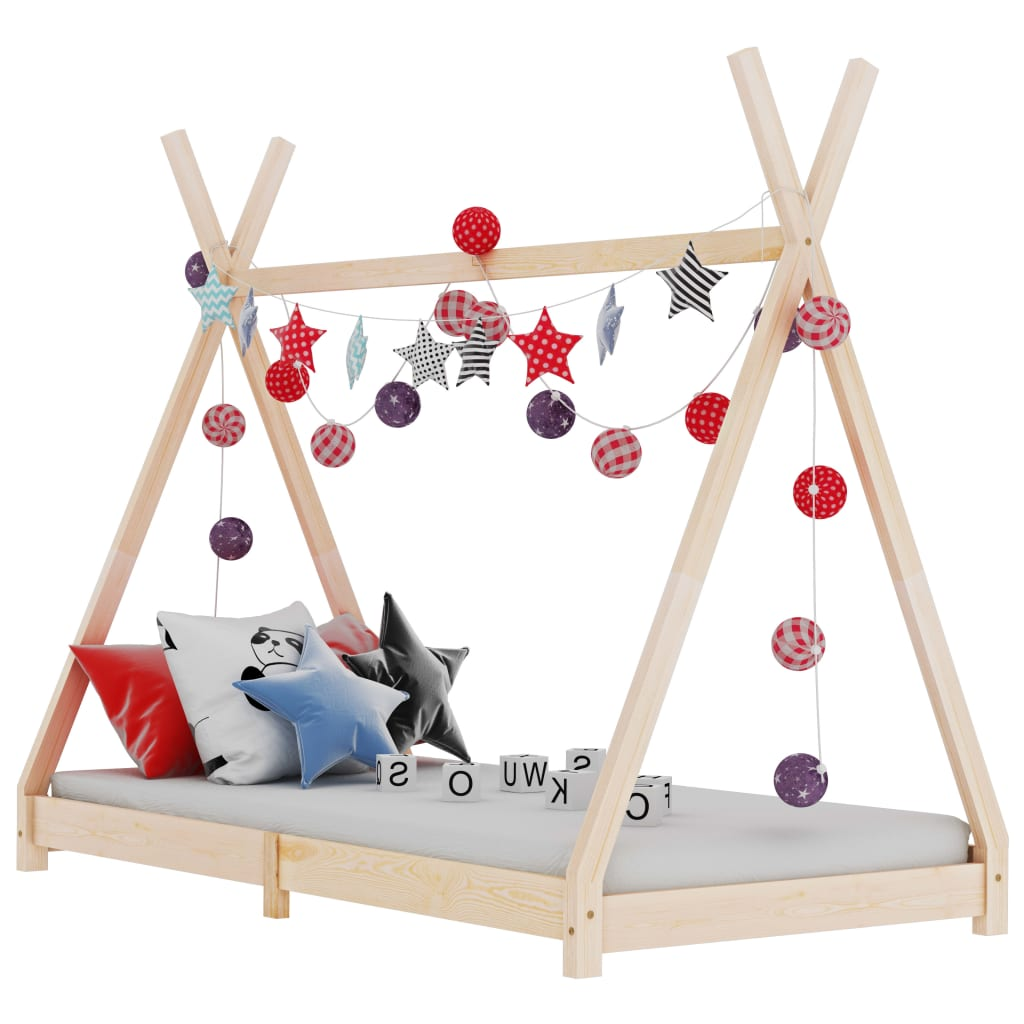 vidaXL Cadru de pat de copii, 70 x 140 cm, lemn masiv de pin poza 2021 vidaXL